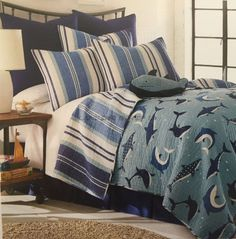 Sammy Brand BLUE SHARKS Twin Quilt 2Pc Set Aquatic Ocean Themed Reversible #Sammy