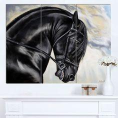 DESIGN ART Designart 'Friesian Horse Painting' Extra Animal Artwork