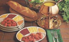 Cheese Fondue~omg, was it popular! I received two for wedding gifts. Hhrvest gold and avocado green...colors ring a bell?