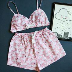 Нет описания фото. Cute Pajama Sets, Cute Pjs, Cute Pajamas, Pajamas Women, Cute Sleepwear, Lingerie Sleepwear, Nightwear, Cute Lingerie, Women Lingerie