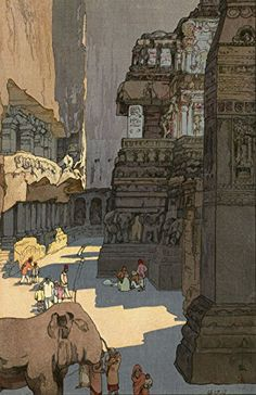 """Japanese Art Print """"Kailasa Temple, Ellora"""" from the India and Southeast Asia Series by Yoshida Hiroshi... http://www.amazon.com/dp/B01EPF6XRE/ref=cm_sw_r_pi_dp_bhaixb01TDK48"""