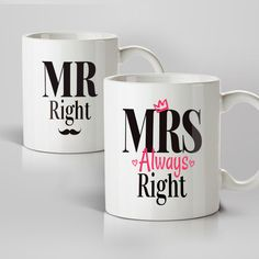 Looking for a perfect Engagement gift? The Mr Right & Mrs Always Right Mugs is an ideal gift and can be delivered directly to the happy couples home.
