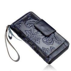 2016 New women genuine leather bag designer brands quality embossing fashion zipper leather women wallets women clutch bags