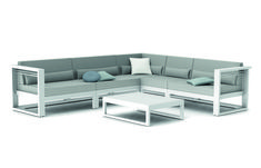 Manutti // Clean-cut lines and a sophisticated appeal are at the heart of this outdoor sofa set - Fuse Collection Outdoor Sofa Sets, Outdoor Furniture, Outdoor Decor, L Shaped Sofa, Sofa Design, Concept, Couch, Luxury, Lava