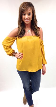 The Willow Tree - Mustard Off-Shoulder Top , $24.95 (http://willow-tree.mybigcommerce.com/mustard-off-shoulder-top/)