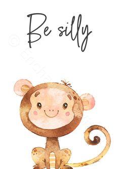 Safari Animal Printable Prints Set of 8 - Jungle Nursery Wall Art Pictures - Printable Wall Art Safari Theme Nursery, Baby Animal Nursery, Nursery Prints, Nursery Wall Art, Jungle Nursery, Jungle Animals, Jungle Safari, Jungle Theme, Gender Neutral