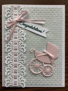 Baby Shower Niño, Baby Shower Cards, Baby Scrapbook, Scrapbook Cards, Birth Congratulations, Indian Wedding Gifts, Baby Shower Souvenirs, Ribbon Cards, Baby Girl Cards