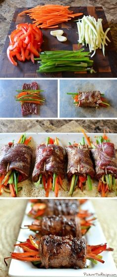 of July Recipes Ever! Balsamic Glazed Steak Rolls///I would sub out the carrots.Balsamic Glazed Steak Rolls///I would sub out the carrots. Think Food, I Love Food, Food For Thought, Paleo Recipes, Cooking Recipes, Cooking Tips, Smoker Recipes, Kitchen Recipes, Atkins Recipes