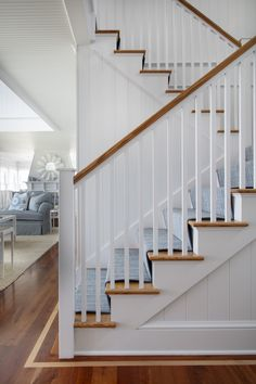 Project Reveal: A Picture-Perfect Beach House House Stairs, Carpet Stairs, Coastal Living Rooms, Coastal Homes, Ecole Bilingue, Guest Bathrooms, Elements Of Style, Beach House Decor, Home Decor