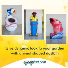Check out our extensive range of animal shaped dustbins available in different designs. Our beautiful shaped dustbin are not only used to keep the surrounding neat and clean in order to maintain health but also to give a dynamic look to your garden.  #Decoration #WaahKart #OnlineShoppinginIndia #StylishDustbin #GardenDustbin #StylishDecor