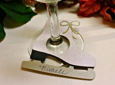 "Chrismas/ Winter Drink Tags/ Wine Glass Charms ""Ice Skates"" by TrimAndTinsel, $9.75"