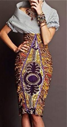 SHOP emerging designers: Stella Jean knows the way to our hearts. This African print skirt is so beautiful with the diamond cut print on top of another. We are green with envy African Inspired Fashion, African Print Fashion, Fashion Prints, African Prints, African Fabric, Ankara Fashion, African Fashion Skirts, Ghanaian Fashion, Skirt Fashion