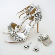 Glam it up! Wedding shoes, Tampa sparkly bridal sandals by Badgley Mischka, bridal jewelry, earrings by Cheryl King Couture & Erin Cole hair accessory.