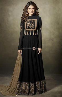 Buy celebrity jennifer winget inspiring black long embroidered dress online. This floor length suit has mandarin collar, full sleeves, sequins & zari work.