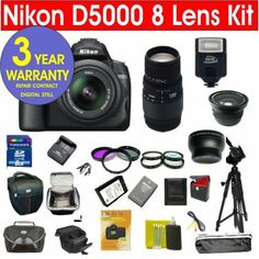 Nikon D5000 12.3 MP Digital SLR Camera with 8 Lens Deluxe Camera Outfit