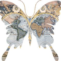 Old World Maps Butterflies - 6 Butterfly PNG Images - One JPG sheet - Instant Download - Fairy Wings on Etsy, $2.25 CAD