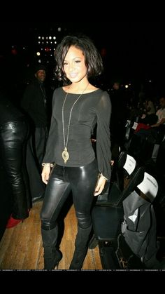 I love women's fashions. Leather Trousers, Leather Boots, Christina Milian, Disco Pants, Leather Fashion, Latex, Curvy, Mini Skirts, Beautiful Women