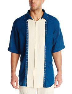 adbf8179 Cubavera Men's Long Sleeve Embroidered Guayabera Shirt, Natural Linen, Large  at Amazon Men's Clothing