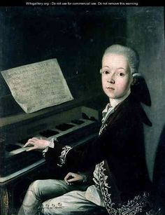 Portrait of Carl Graf Firmian at the piano formerly thought to be Wolfgang Amadeus Mozart 1756-91 - Franz Thaddaus Helbling