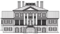 Rear Elevation of Colonial   Plantation   Southern   House Plan 86337