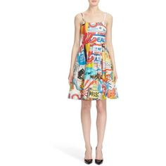 Moschino 'The Powerpuff Girls' Fit & Flare Dress ($1,250) ❤ liked on Polyvore featuring dresses, white multi, print dress, flower dress, white silk dress, comic book and white flower dress