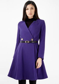 Closet Purple Double Breasted Flared Belted Coat
