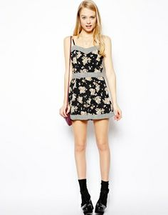 Image 4 of ASOS Mixed Print Strappy Playsuit