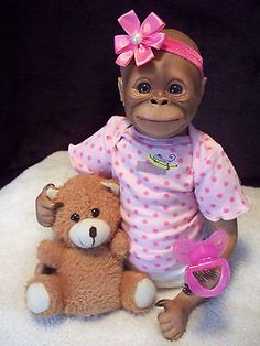 Adorable Reborn Orangutan Reborn Baby Girl by Bun In The Oven Doll Studio - New