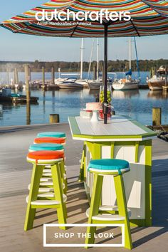 Each Summerside Bar is crafted from a durable, post-consumer plastic called poly lumber, that is made for life outdoors. Impervious to the elements, you can rely on years of maintenance-free enjoyment of your outdoor space. Choose from a wide variety of colors to fit any motif and get your porch, patio, or poolside ready for the season. Outdoor Dining Furniture, Outdoor Decor, Bar Seating, Buy Chair, Round Bar, Backyard, Patio, Outdoor Areas, Classic Collection