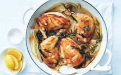 This stress-free dish is based on one of my favorite flavor pairings—golden roast chicken and tarragon. The chicken is simply seared on the cooktop, then placed in the oven to bake with zingy lemon, … Yummy Recipes, Cooking Recipes, Healthy Recipes, Game Recipes, Batch Cooking, Pastry Recipes, Simple Recipes, Recipies, Most Popular Recipes