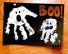 halloween projects, school crafts, halloween cards, fall parties, halloween fun, halloween crafts, hand prints, ghost, kid