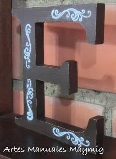 Letra E en madera para deccorar. Wooden Letters, Decorated Letters, Hand Art