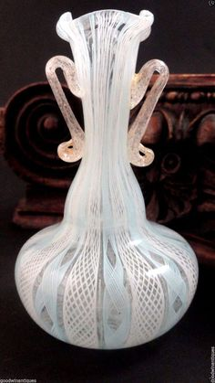 C.1940s. Antique Miniature Murano Venini Blue - White Latticino Gold Art Deco Glass Vase