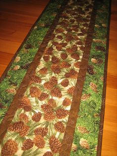 Quilted Table Runner Pine Cones and Pine Boughs Rustic Mountain Lodge Handmade…