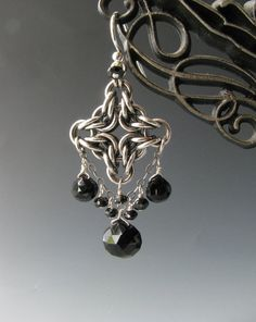 Byzantine Diamond Chainmaille Earrings with Onyx and Black Spinel