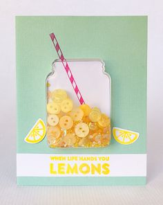 Make a Lemonade Button Shaker Card Button Crafts For Kids, Button Cards, Shaker Cards, Get Well Cards, Scrapbook Cards, Scrapbooking, Card Tags, Cute Cards, Homemade Cards