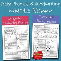Integrated Phonics & Handwriting  Practice: Kindergarten & 1st Grade Phonics, reading, and writing prompts are aligned with the standards   that are expected for Kindergarten while embedded cues remind children   to use and practice conventional letter formations. If you have taught   your children conventional letter formations but they are not yet using   them consistently in their daily writing, this is the tool for you! Sight Word Sentences, Phonics Words, Cvc Words, Improve Your Handwriting, Improve Handwriting, Handwriting Practice, 1st Grade Writing, Hand Writing, Handwriting Analysis