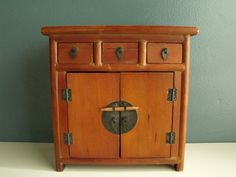 Small Wooden Tabletop Cabinet Asian Jewelry Box By KTsAttic, $24.00