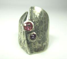 OLY Designer Ring 835 Silber Edelsteine Vintage 60er 70er silver Modernist mm N4