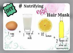 Source: Health Munsta | #wittyvows #bridetobe #milk #lemon #eggs #oliveoils #healthyhair #haircare #hairgoals #hairgrowth #hairtransformation #hairgrowthtips #potd #trendy #trending #fashion Egg Hair Mask, Egg For Hair, Hair Masks, Egg Mask, Homemade Beauty, Homemade Hair, Cheveux Ternes, Diy Hair Treatment, Beauty Tips