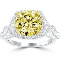 4.61 Carat Round Cut Fancy Yellow Diamond Engagement Ring 18k Gold Pave Halo - Thumbnail 1