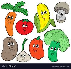 Royalty free clipart illustration of happy veggies. This royalty-free cartoon styled clip art picture is available as a fine art print and poster. Cartoon of Happy Veggies - Royalty Free Vector Clipart by visekart Free Vector Clipart, Free Vector Images, Food Clipart, Vegetable Cartoon, Cartoon Vegetables, Fresh Vegetables, Diy Crafts To Do, Free Cartoons, Anxiety In Children