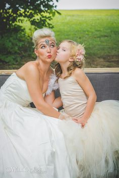 Bride with her daughter having fun.