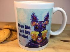 Love me, Love My Tache! Coffee Mug by LittleShopOfTrendy The perfect Scottie dog lover gift. A beautiful and glossy A+ quality 11oz ceramic mug.  Unique Gift for any Scottie Dog Lover!  This Scottie Dog Novelty Coffee Mug is featuring a unique artwork by Fernando Palma. Picture the joy of giving this custom coffee mug to the special person in your life and seeing their excitement of owning this unique limited edition collector's item.  High-quality print  The imprinted custom design will…
