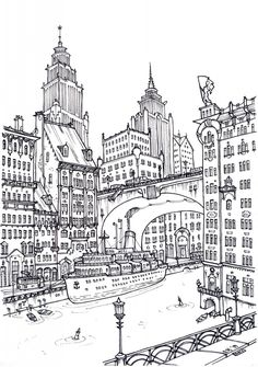 город, графика Illustration Pen And Ink, Ink Illustrations, Coloring Sheets, Coloring Books, Adult Coloring Pages, Travel Drawing, City Drawing, Mural Art, Printable Coloring Pages