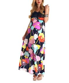 Take a look at this PinkBlush Navy Blue Floral Maternity Maxi Dress by PinkBlush Maternity on #zulily today!