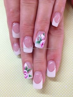 White+French+gel+overlays+with+one+stroke+flower+nail+art