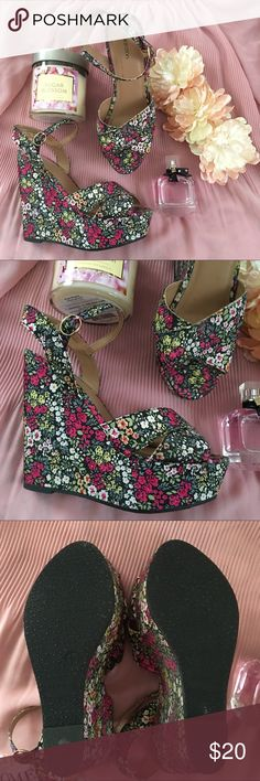 Floral Platform Wedges Shoes have been tried on a couple times but never worn outdoors.  These shoes are not wide.  Straps around ankle. Wedge platform shoes. Sorry no holds, trades. I do bundle items! Xhilaration Shoes Wedges