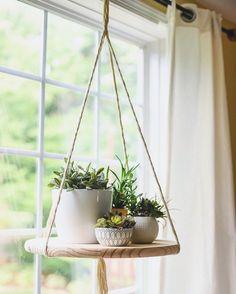 window plants ! DIY Hanging platform .