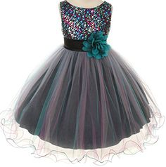 Flower Girls Dress Multi Sequin Beaded Dress Teal Blue Baby S-XL Girls 2-14 >>> Details can be found by clicking on the image.